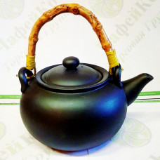 Чайник глиняный с бамбуковой ручкой Черное золото 950 мл