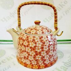 Чайник керам. с мет. ситом Домашний красный 900 мл