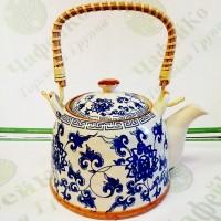 Чайник керамічний з мет. ситом Блакитна хризантема 900 мл