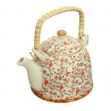 Чайник керам. с мет. ситом Красный цветок 900 мл