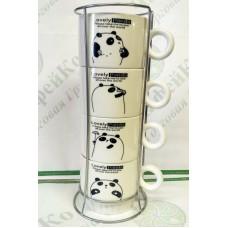 "Набор чайный на 4 персоны на подставке ""Панда"""