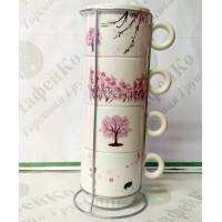 Набір чайний на 4 персони на підставці 'Сакура' 250 мл