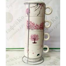 "Набор чайный на 4 персоны на подставке ""Сакура""  250 мл"