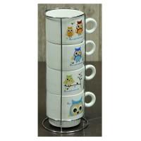 Набір кавовий на 4 персони на підставці 'Сови' 150 мл