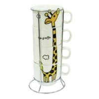 Набір кавовий на 4 персони на підставці 'Жираф'  150 мл