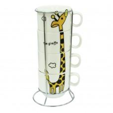 """Набор кофейный на 4 персоны на подставке """"Жираф""""  150 мл"""