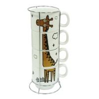 Набір кавовий на 4 персони на підставці 'Жираф'  250 мл