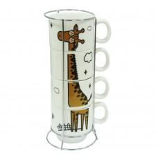 """Набор кофейный на 4 персоны на подставке """"Жираф""""  250 мл"""
