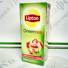 Чай Lipton Strawberry Cream 25*1,6г зелений (24)