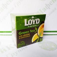 Чай в пакетиках пірамідках LOYD Green Tea, лимон&лимонник, 1,5 г*20шт. (20)