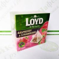 Чай в пакетиках пірамідках LOYD Raspberry&Strawberry, малина і полуниця, 2г*20шт. (20)